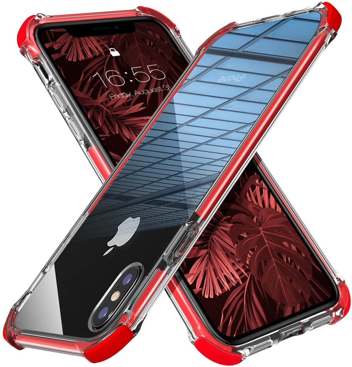 MATEPROX iPhone Xs Max Case Clear Hybrid TPU Hard Cover with Thin Shockproof Bumper Protective Case for iPhone Xs Max 6.5'' (Red)