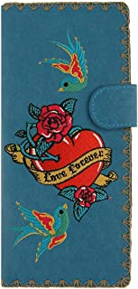 LAVISHY Embroidered Tattoo Style Love Birds & Rose Flower Love Forever Vegan/Faux Leather Large Flat Wallet