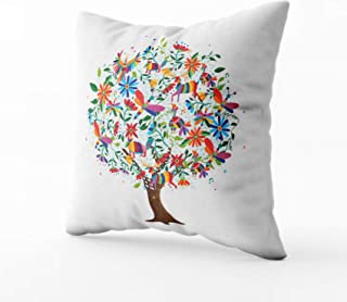 HerysTa Easter Home Decorative Cotton Throw Pillow Case 20X20inch Invisible Zipper Cushion Cases Floral Tree Made Colorful Flower Animal Icons in Traditional Mexican Art Style Square Sofa Bed D¨¦cor