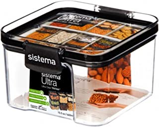 Sistema J7S95 Ultra Square Food Container, 460ml, Black, Brown/Tan