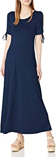 Star Vixen womens Short/Slit Sleeve Keyhole-Back Skater Seam Maxidress Dress