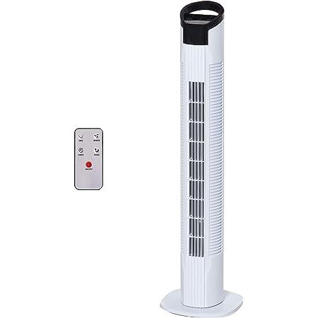 Ventilateur colonne tour oscillant 50 W silencieux télécommande incluse minuterie 3 modes 3 vitesses blanc noir