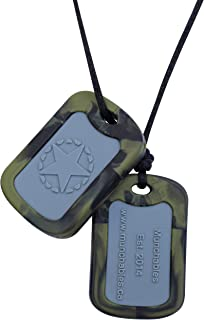 Munchables Chewable Dog Tags - Sensory Chew Military Necklace for Boys (Camo)