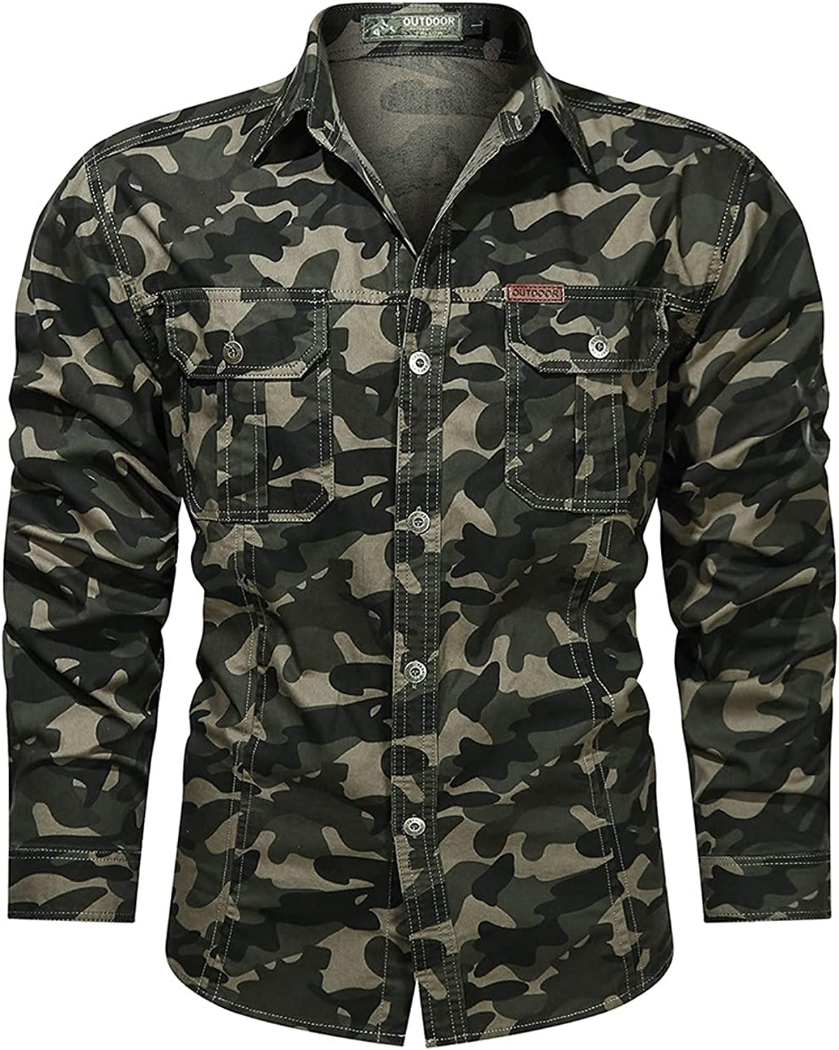 Men's Autumn Long Sleeve Top Plus Sizes Shirts For Men Military Style Blouse Outdoor Coat Cotton Washed