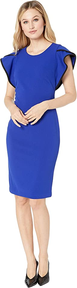 Ruffle Arm w/ Piping Sheath Dress