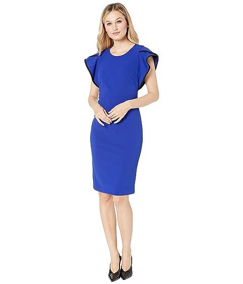 093ebfe7 Calvin Klein Ruffle Arm w/ Piping Sheath Dress at Zappos.com