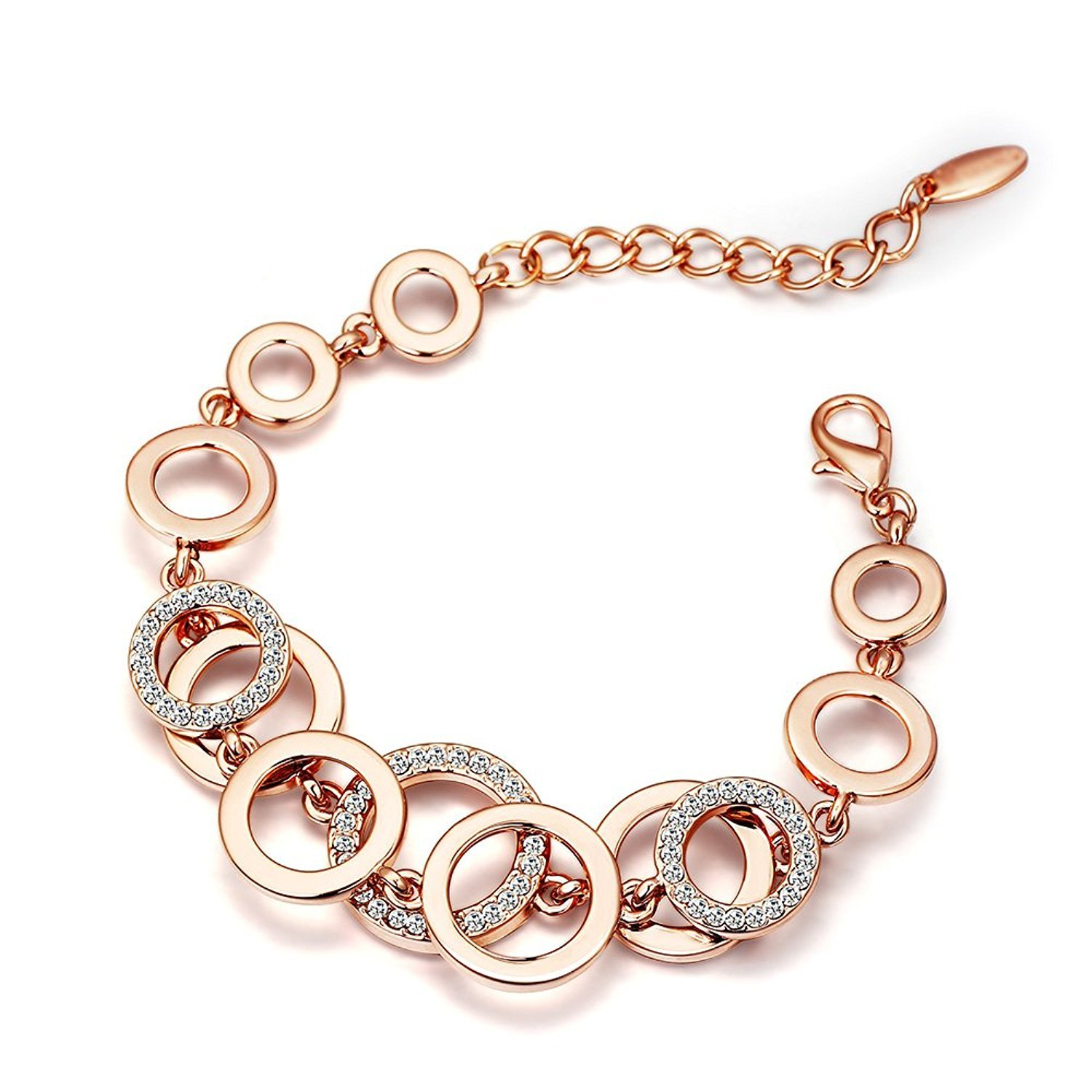 YouBella Jewellery Bracelets for Women Rose Gold Plated Crystal Bracelet Bangle Jewellery for Girls and Women