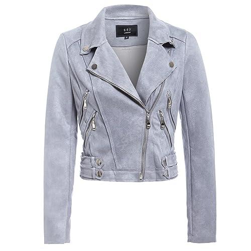 ac134af7fbab SS7 New Womens Faux Suede Biker Jacket Ladies Size 8 10 12 14 Black Grey New