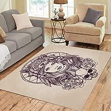 Pinbeam Area Rug Red Tattoo Native American Girl Wolf Headdress Lineart Home Decor Floor Rug 2' x 3' Carpet