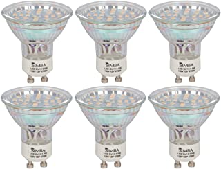 Simba Lighting LED GU10 Spotlight 3.5W 380lm 50W Halogen Equivalent 120° Beam Angle 120V for Accent Light, Track Light, Twist-N-Lock Base, Glass Cover, Non-Dimmable Warm White 2700K, 6-Pack