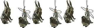 Comfy Hour Resin Set of 6 Fairy On Backs of Rabbit and Sparrow Bird Christmas Tree Ornaments, Xmas Party Décor