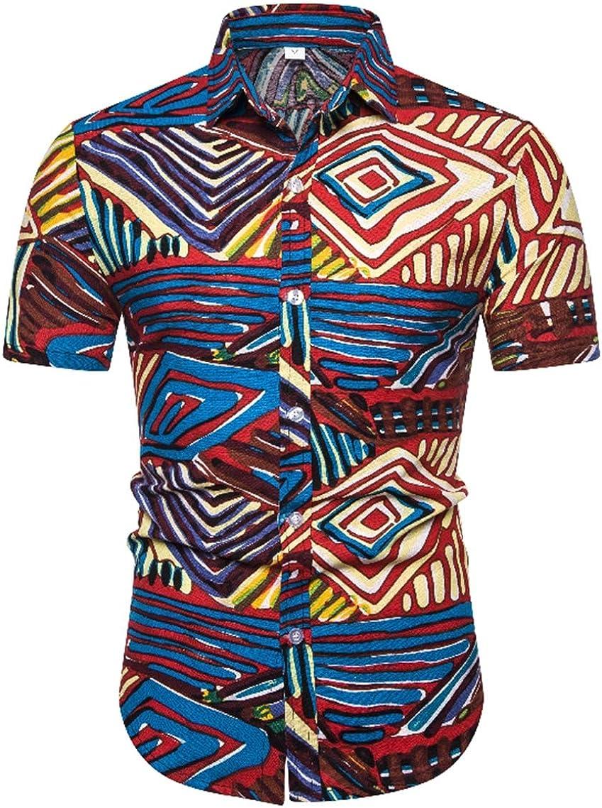 Men's Geometric Shirts Fashion Casual Classic Beach Hawaii Ethnic Style Series Print Short Sleeve Shirt