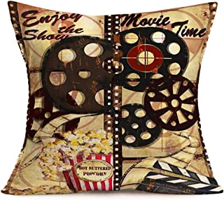 Fukeen Movie Time Throw Pillow Covers Vintage Film Reels Popcorn Clapperboard Decorative Pillow Cases Cinema HomeTheater Decor Cotton Linen Enjoy The Shown Words Cushion Cover 18x18 Inch