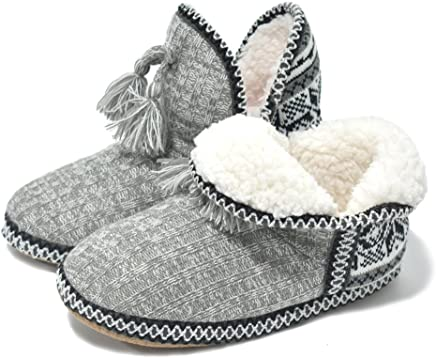 ed73b7ee8c84 GPOS Women s Cashmere Knit House Slipper Booties Cotton Quilted Warm Indoor  Ankle Boots