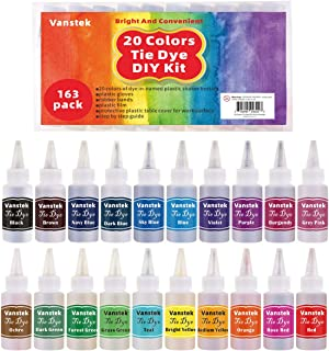 Vanstek Tie Dye DIY Kit, 20 Colors Tie Dye Shirt Fabric Dye for Women, Kids, Men, with Rubber Bands, Gloves, Plastic Film and Table Covers for Family Friends Summer Party Supplies