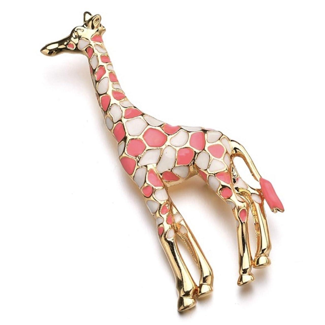 光沢挨拶に対処する[SENYON] ゴールドカラー キリン 動物 ブローチピン (ピンク)