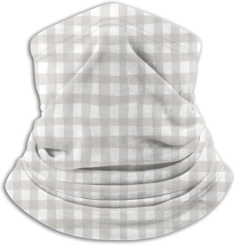 Organic Gingham Warm Gray Bandanas Neck Gaiter Face Mask Scarf Face Shield