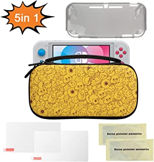 Nintendo Switch Lite ケース, 液晶保護シート付き, TPUケース付き, ハードケース 収納バッグ, ゲームカード 保護カバー, ニンテンドー スウィッチ ケース, EVA PU材料 ゲーム機収納袋 任天堂スイッチ キャリングケース (きいろ)