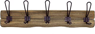CVHOMEDECO. Primitives Solid Wood Wall Mounted Coat Rack with 5 Double Hooks Farmhouse Wooden Coat Hooks for Entryway, Kitchen, Bathroom. Brown.