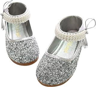 BoBo Angel Mary Jane lage schoenen prinses pailletten ballerina met parels riempje klittenbandsluiting feestelijke glitter...