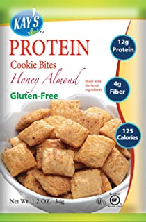 Kay's Naturals Protein Cookie Bites, Honey Almond, Gluten-Free, Low Carbs, Low Fat, Diabetes Friendly, All Natural Flavorings, 1.2 Ounce (Pack of 6)