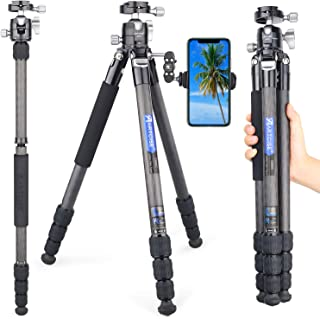 Carbon Fiber Tripod, 63.8in/3lb Compact Lightweight Travel Tripod with Low Profile Ball Head and Two 1/4 in Quick Shoe Plate for DSLR Camera, Video Camcorder, Max Load 33lb/15kg