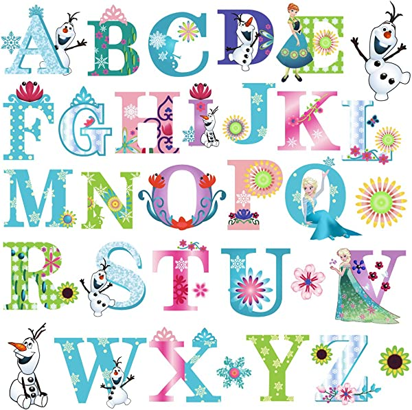 DEKOSH Frozen Theme Alphabet Wall Stickers For Baby Girl Nursery Peel Stick Decorative Girl Nursery Wall Decals For Kids Playroom Baby Bedroom