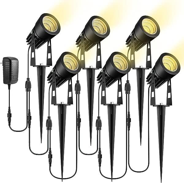 ECOWHO Low Voltage Landscape Lights 12V LED Landscape Lighting Outdoor Spot Lights Plug In Waterproof Garden Lights For Flood Yard Driveway Path Warm White 6 Pack