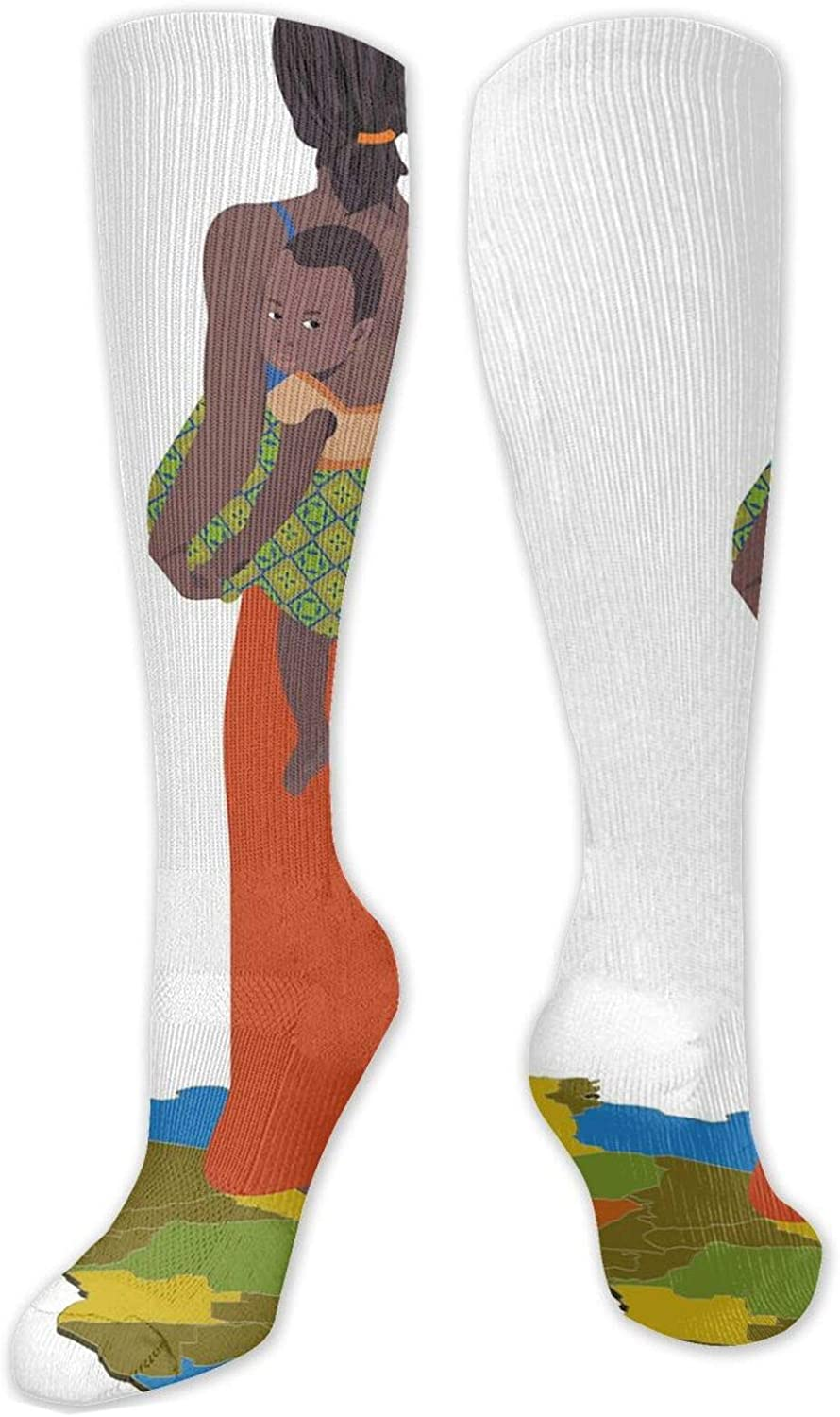 Compression High Socks-Mother Carrying Baby Girl On Her Back Africa Country Culture Continent Map,Socks Women and Men - Best for Running, Athletic,Hiking,Travel,Flight