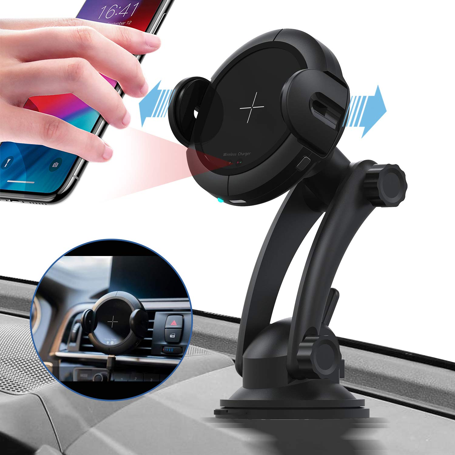 Vent Dashboard Phone Holder with QC 3.0 Charger Automatic