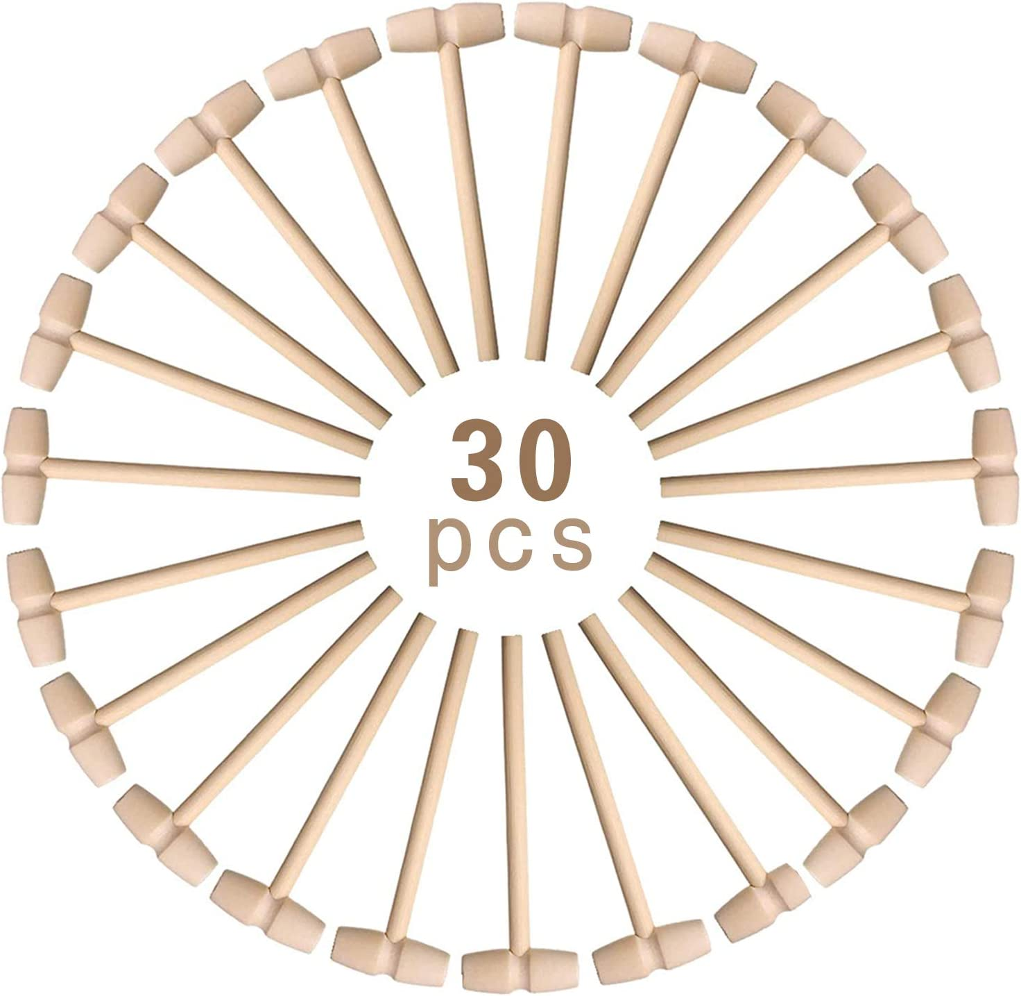BAEONY 30 Pieces Mini Max 60% OFF Wooden Hammer Ranking TOP15 Mallet Pounding Toy Wo Small