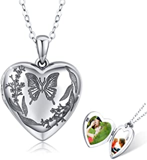 Locket Necklace That Holds Pictures 925 Sterling Silver Vintage Oxidized Butterfly Flower Photo Locket Heart Pendant Jewel...