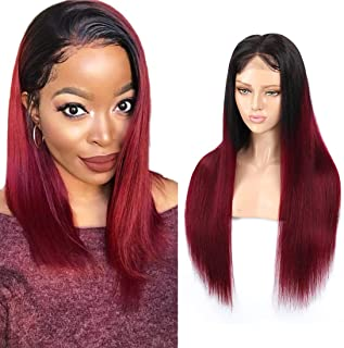 RACILY Ombre Straight Human Hair Wigs 1B Burgundy 1 Piece, Lace Front Closure Black Roots 99J Glueless Silky Straight Wigs, Composed of 4x4 Inch Lace Closure with Hair Bundles