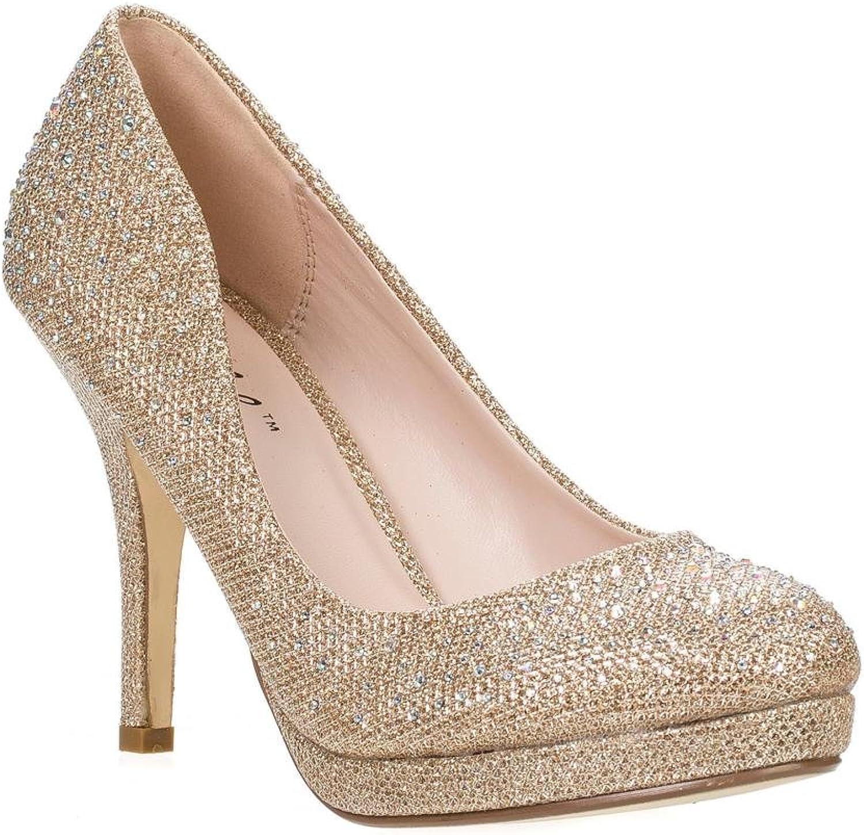 Bonnibel Olga-6 Round Toe Glitter Mesh Rhinestone Studded Low Platform Pump Heels