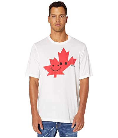 DSQUARED2 Dyed Maple Leaf Slouch Fit T-Shirt (White) Men
