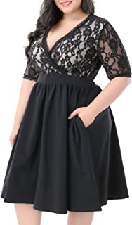 Women's Half Sleeves V-Neckline Lace Top Plus Size Cocktail Party Swing Dress