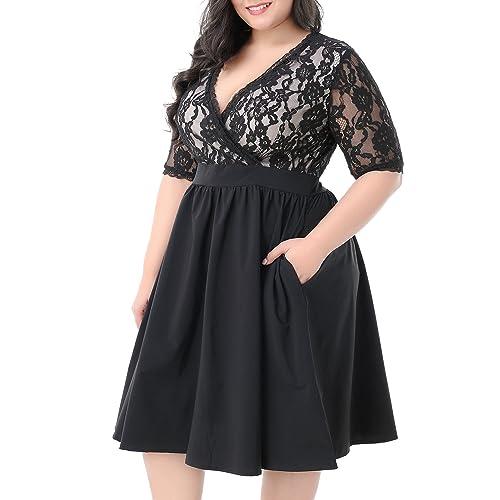 Nemidor Women s Half Sleeves V-Neckline Lace Top Plus Size Cocktail Party  Swing Dress dbaeb81b2080