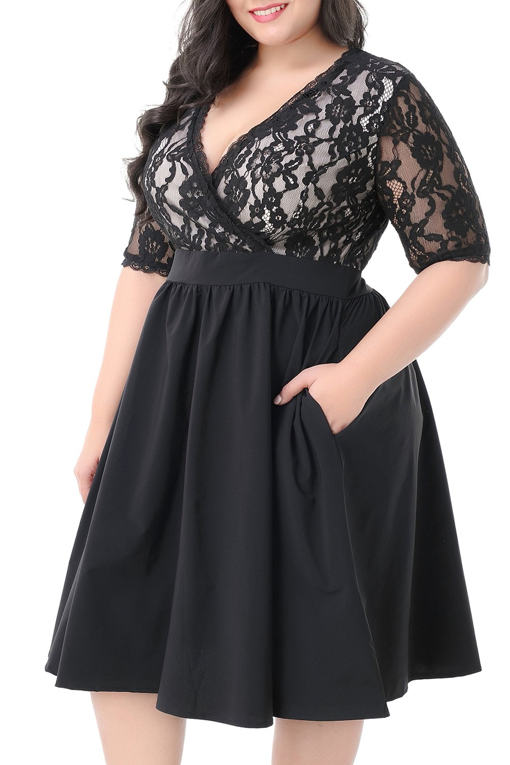 Plus Size Dresses - Women's Stretch Lined Plus Size Lace Shift Dress Knee Length With Scalloped Hem And Cuff