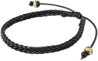 NOVICA Braided Black Leather Men's Bracelet with Bone Beads, 8.5