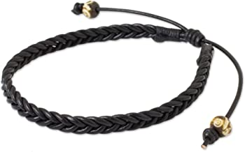 NOVICA Braided Black Leather Men's Bracelet with Bone Beads, 8.5