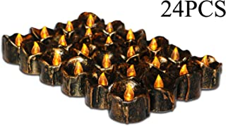 Halloween Party Ideas, Led Battery Operated Flickering Black Fake Electric Small Plastic Flameless Dropless Outdoor Indoor Home Party Pumpkin Decorative Halloween Decoration Candle Supplies, 24PCS