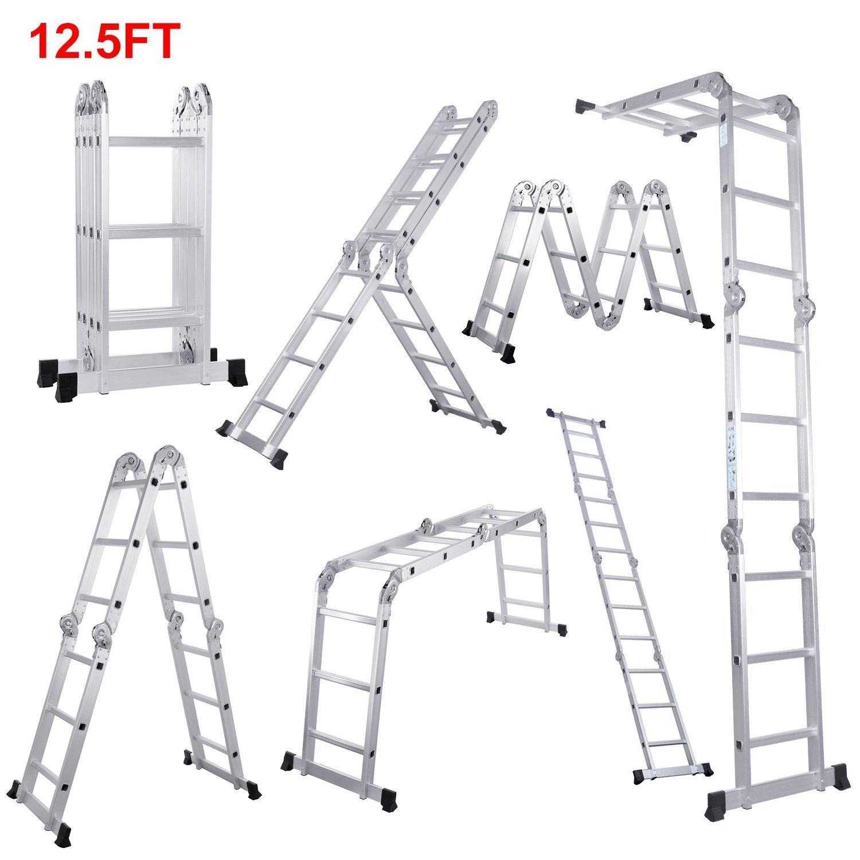 kingyuan 12,5 ft/16.5ft Heavy Duty multiusos múltiples posición aluminio plegable multifunción escalera andamio escaleras, sujeción hasta Kg): Amazon.es: Bricolaje y herramientas