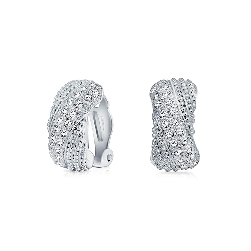 Bridal Prom Criss Cross Twisted Row Pave Crystal Dome Half Hoop Clip On Earrings Non Pierced Ears Silver Plated Brass