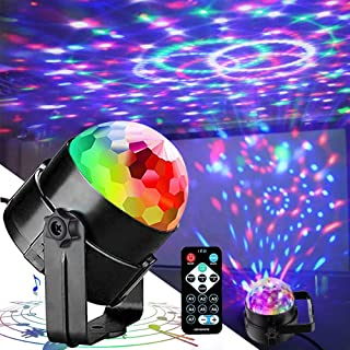 Disco Lights Party Lights QinGerS Dj Stage Light 7 Colors Sound Activated For Christmas KTV Club Lights Romantic decorati