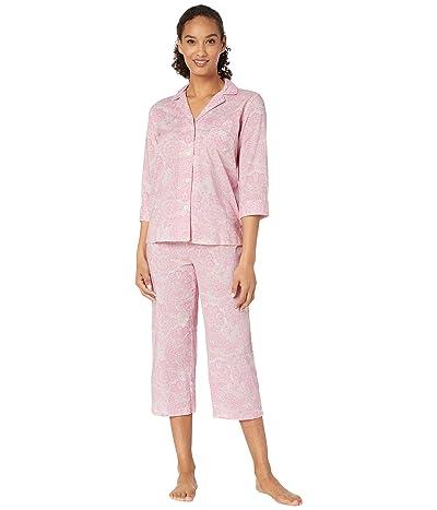 LAUREN Ralph Lauren Cotton Rayon Lawn Woven 3/4 Sleeve Pointed Notch Collar Capri Pants Pajama Set (Multi Paisley) Women