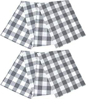 Aneco 2 Pack Table Runner Checkered Cotton Table Runner Trendy Modern Plaid Design Table Runner Decor for Indoor Outdoor Events 13 x 72 Inch Gray and White Plaid