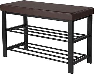 (Brown Seat, Dull Polished Black Frame) - SONGMICS Metal Shoe Bench 2-Tier Shoe Rack Entryway Shoe Storage Organiser Faux ...