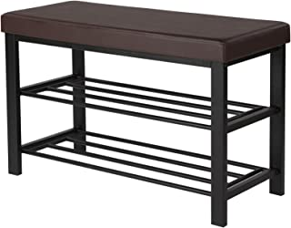 SONGMICS Shoe Bench, 3-Tier Shoe Rack for Entryway, Storage Organizer with Foam Padded Seat, Faux Leather, Metal Frame, for Living Room, Hallway, 31.9 x 12.6 x 19.3 Inches, Brown ULBS58Z