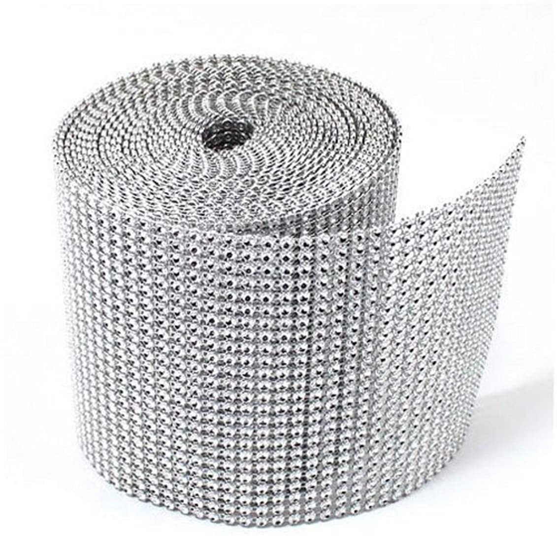 KUPOO Diamond Sparkling Rhinestone Mesh Ribbon for Event Decorations, Wedding Cake, Birthdays, Baby Shower, Arts and Crafts, 10 Yards, 24 Row (silver)