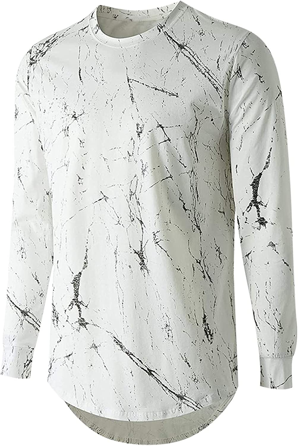 Mens Long Sleeve Shirts Slim Crew Neck Hem Printed Shirt Lightweight Breatheable Blouse Casual Stretch Workout Tops